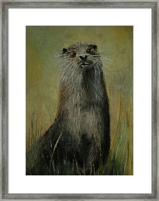 Otter  Miniature Framed Print by Lynn Hughes
