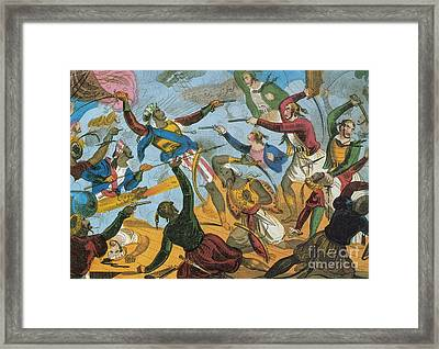 Ottoman Corsairs Attacking Greek Framed Print by Photo Researchers