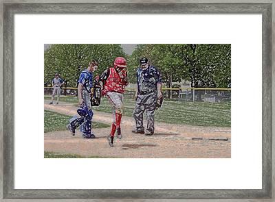 Ouch Baseball Foul Ball Digital Art Framed Print by Thomas Woolworth