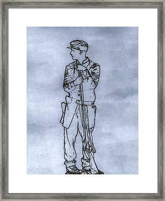 Our Boy In Blue Soldier Sketch Framed Print by Randy Steele