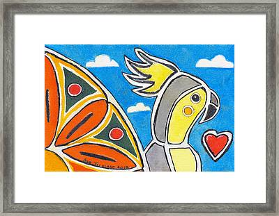 Framed Print featuring the painting Our Heart Bird Oscar by Ana Tirolese