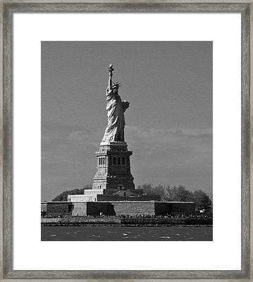 Framed Print featuring the photograph Our Lady Of The Harbor by Nancy De Flon