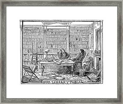 Our Library Table, 1842 Framed Print by Granger