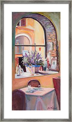 Our Table By The Window Framed Print by Jane Woodward