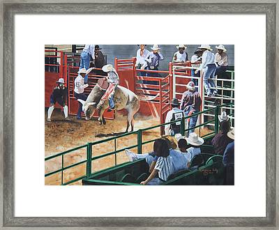 Out Of The Chute Framed Print by Katherine Uitz