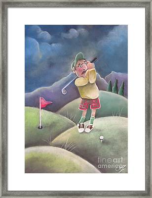 Out On The Course Framed Print by Caroline Peacock