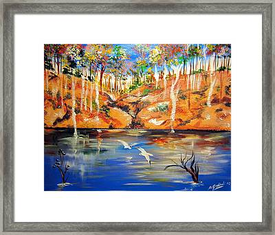 Framed Print featuring the painting Outback Billabong My Way by Roberto Gagliardi