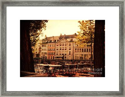 Outdoor Cafe In Lucerne Switzerland  Framed Print