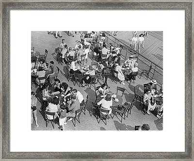 Outdoor Cafe Scene Framed Print by George Marks