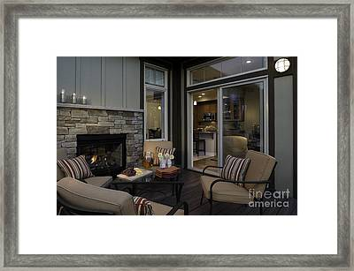 Outdoor Patio With Fireplace Framed Print by Robert Pisano