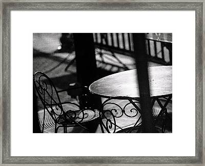 Outdoor Seating Framed Print by Vicki Jauron