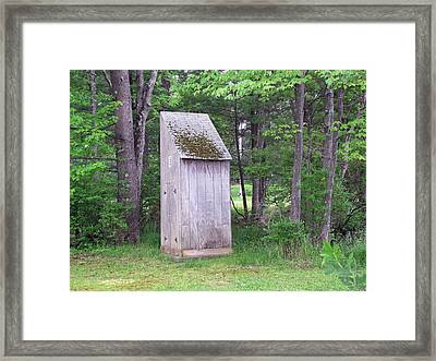 Outhouse In The Woods Framed Print