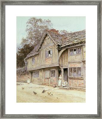 Outside A Timbered Cottage Framed Print by Helen Allingham