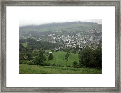 Ovehead View Of Houses From The Gondola Starting At Kriens In Switzerland Framed Print by Ashish Agarwal