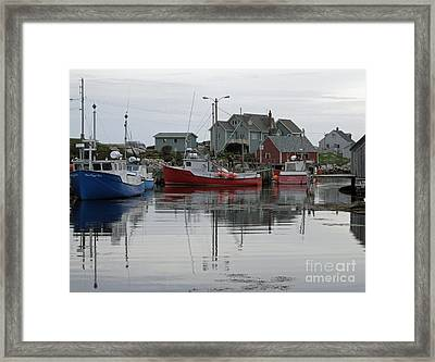 Overcast At Peggy's Cove  Framed Print by Louise Peardon
