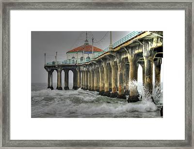Overcast Manhattan Beach Pier Framed Print