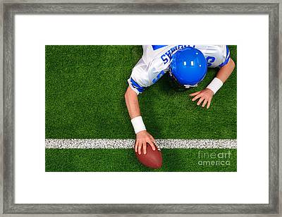 Overhead American Football Player One Handed Touchdown Framed Print by Richard Thomas