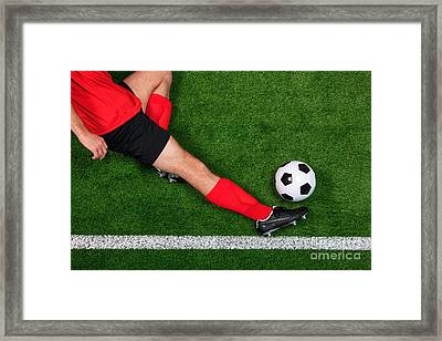 Overhead Football Player Sliding Framed Print by Richard Thomas
