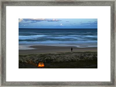Overhead Of Camp Site By Beach Framed Print by Johnny Haglund