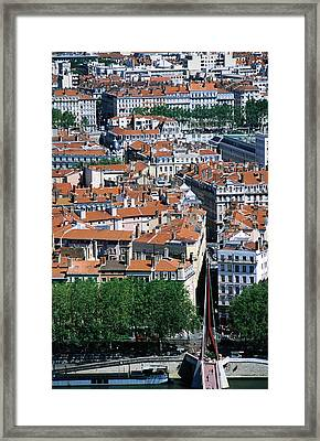 Overhead Of City, Lyon, Rhone-alpes, France, Europe Framed Print by Glenn Van Der Knijff