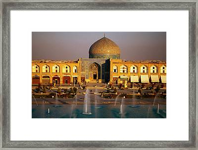 Overhead Of Fountains Outside Sheikh Lotfollah Mosque, Emam Khomeini Square, Esfahan, Iran Framed Print by Mark Daffey