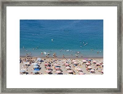 Overhead Of Rhodes Main Beach Framed Print by Holger Leue