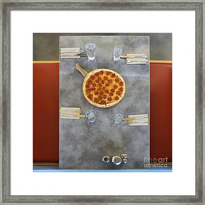 Overhead Of Table With Pizza Framed Print by Andersen Ross
