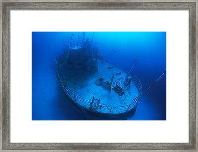 Overhead View Of A Shipwreck On The Sea Framed Print by Nick Caloyianis