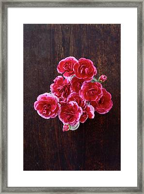 Overhead View Of Flowers Framed Print by Fumie Kobayashi