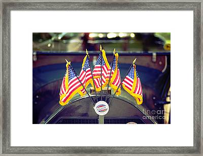 Overland Vintage Car With Flags Framed Print by Floyd Menezes