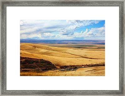 Overlooking Farm Blue Mountain Range Framed Print by Tracie Kaska