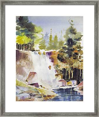 Overlooking The Falling Framed Print
