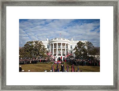 Overview Of The Welcoming Ceremony Framed Print by Everett