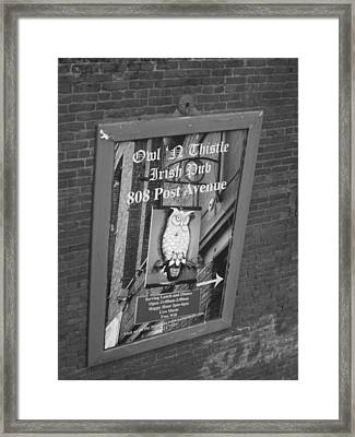 Owl And Thistle Irish Pub Framed Print by Kym Backland