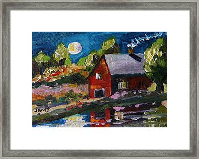 Oyster Shell Moon Framed Print by John Williams