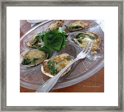 Oysters Rockefeller Framed Print by Anne Babineau