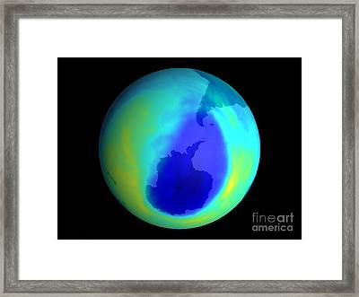 Ozone Hole, September 2004 Framed Print by NASA / Science Source