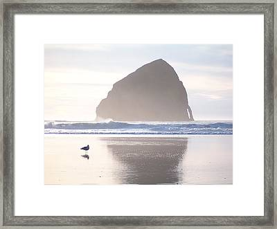 Pacific City Beach Reflected Framed Print