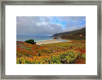 Pacific Coast Highway And Little Sur River Framed Print by David Toussaint