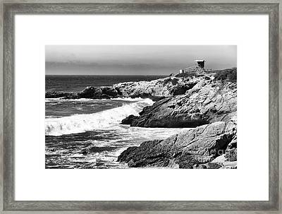 Pacific Lifeguard View In Bw Framed Print by John Rizzuto
