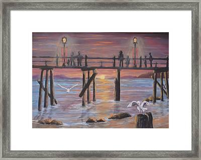 Pacific Ocean Moonlight Framed Print by Janna Columbus