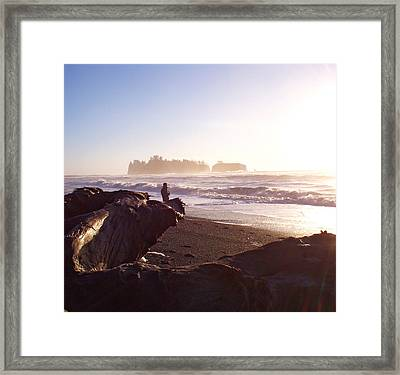 Pacific Ocean Sunsest Walk Framed Print by Christine Burdine