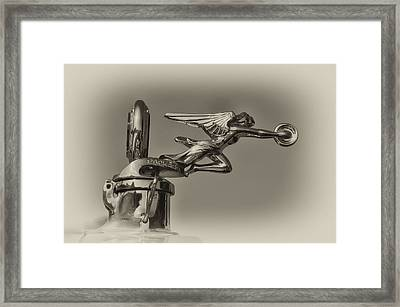 Packard Angel Hood Ornament In Sepia Framed Print by Bill Cannon