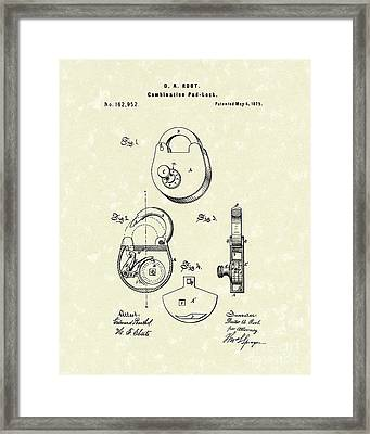 Pad Lock 1875 Patent Art Framed Print by Prior Art Design