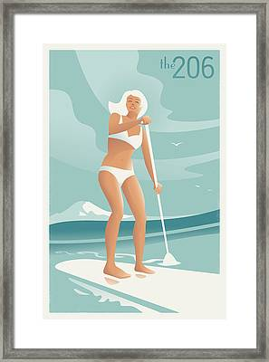 Paddleboarding Seattle Framed Print by Mitch Frey