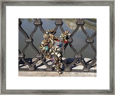 Padlocks On Bridge. Rome Framed Print by Bernard Jaubert