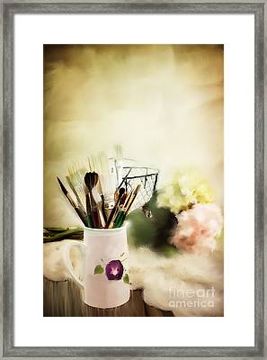 Paint Brushes And Flowers Framed Print