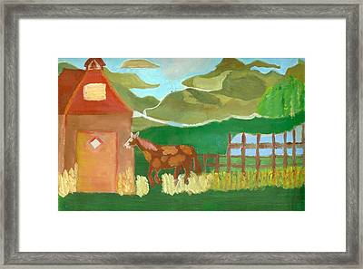Paint Pony At Red Schoolhouse Framed Print
