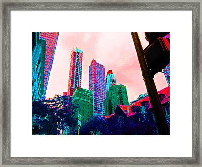 Paint The Town Red Framed Print by Val Oconnor