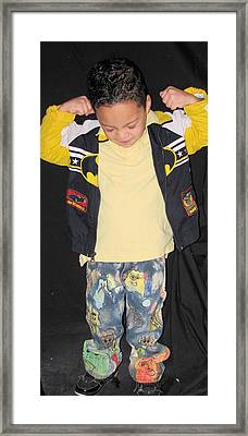 Painted Boys Jeans Framed Print by HollyWood Creation By linda zanini